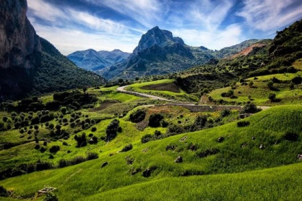 A picture containing mountain, outdoor, grass, nature  Description automatically generated