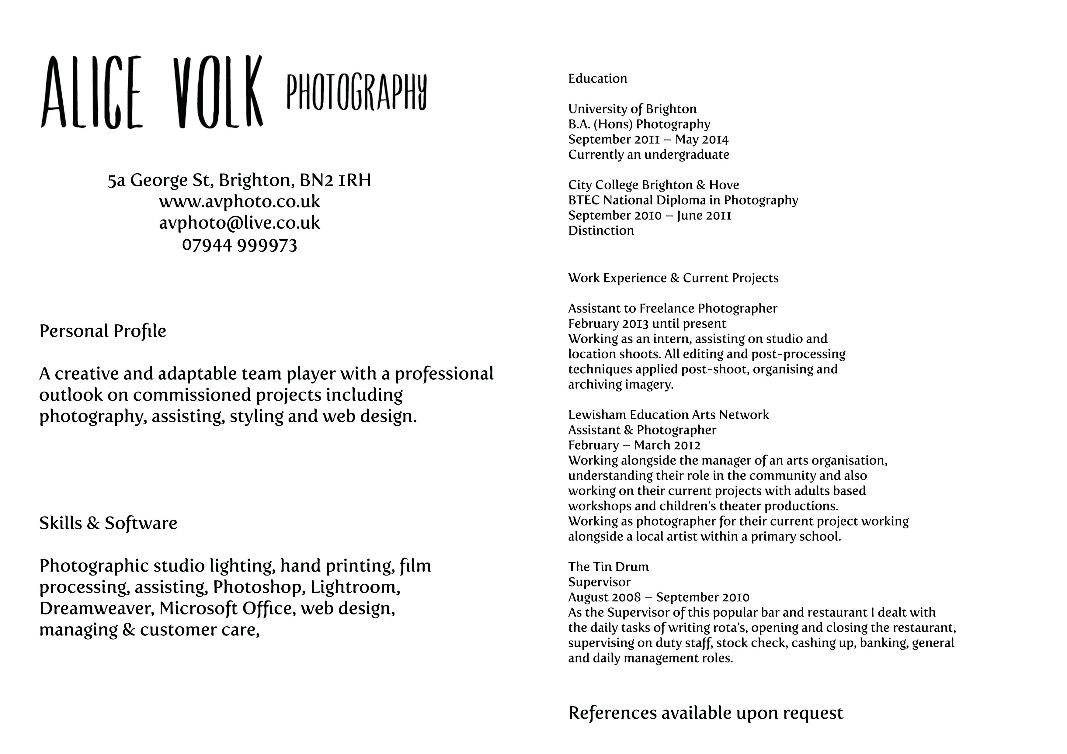 I Am Attaching My Resume For Your Reference Alice Volk Visual Explorer My First Blog Showing The