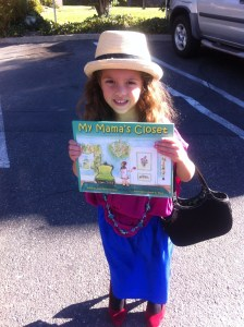 The author's granddaughter dressed up to join her grandmother for a reading of My Mama's Closet at Grace Preschool