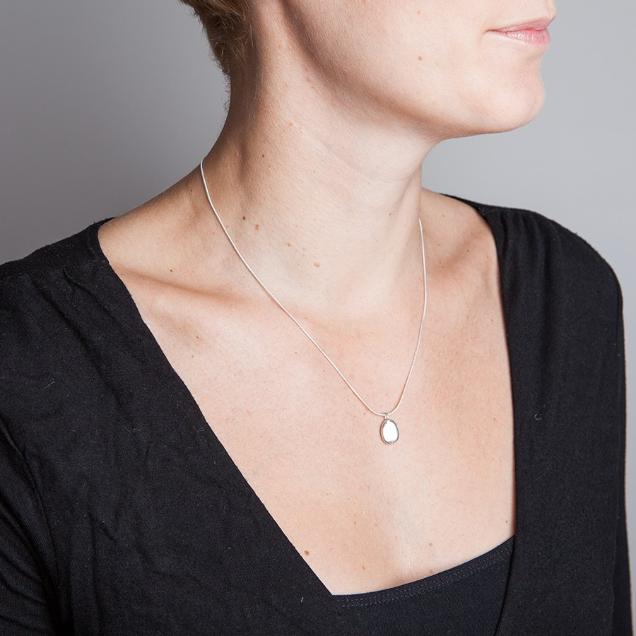 Oval pebble drop necklace  Alice Robson Jewellery