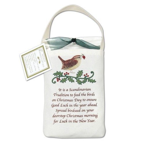 Bird seed gift bag with inspirational holiday quote  Alices Cottage