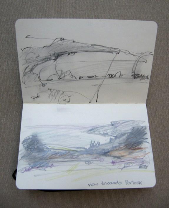 Alice Sheridan location sketchbook drawings at Porlock Bay