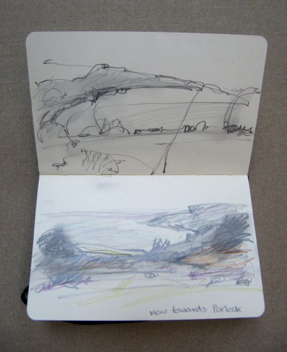 Alice Sheridan location sketchbook drawings at Porlock Bay