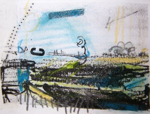 Alice Sheridan sketchbook detail: invented landscape with type