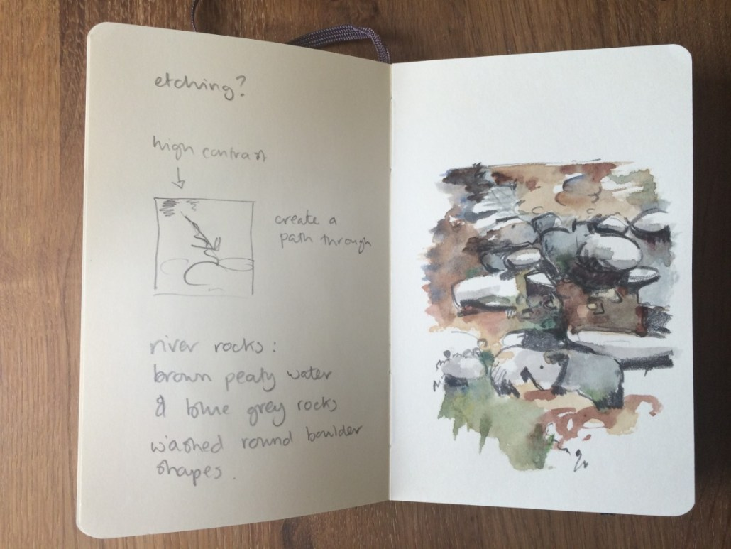 River stones drawing and notes in sketchbook Alice Sheridan