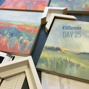 visit to the framers with paintings by Alice Sheridan