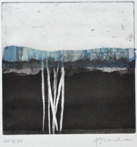 Alice Sheridan 'Blue Horizon 2' etching with chine collé