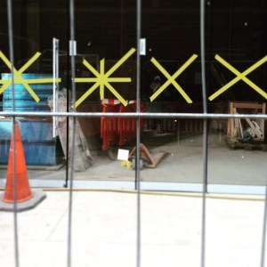 Yellow tape marks and grid