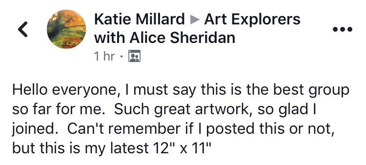 art coaching Art Explorers facebook group testimonial