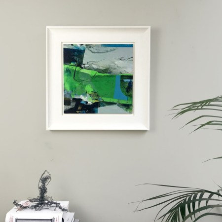 lime green abstract painting 'Night Safari' Alice Sheridan
