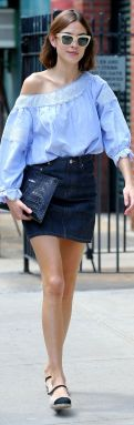 Fashion writer Alexa Chung, wearing an off-the-should light blue top, denim skirt, alligator clutch and Chanel flats, leaves The Smile in New York City on June 6, 2016 Pictured: Alexa Chung Ref: SPL1296530 060616 Picture by: Christopher Peterson/Splash News Splash News and Pictures Los Angeles:310-821-2666 New York:212-619-2666 London:870-934-2666 photodesk@splashnews.com