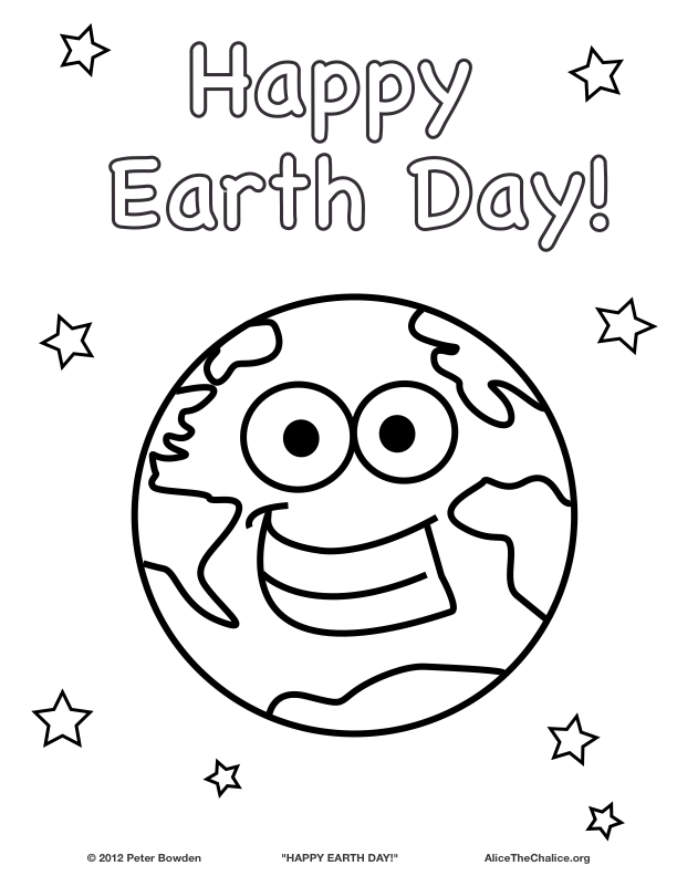 """Happy Earth Day!"" coloring page"