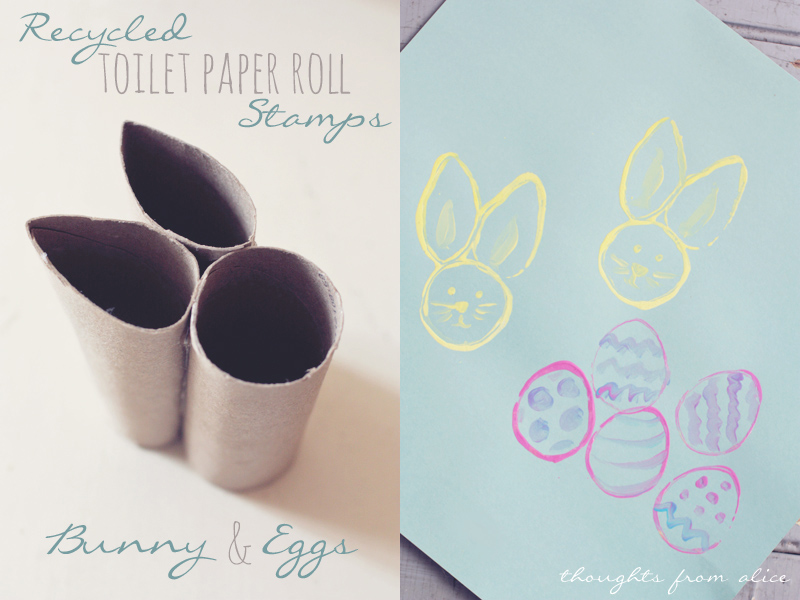 Recycled Tp Roll Easter Bunny And Egg Stamps Kids Craft Alice