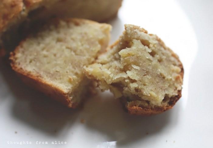 moist dense texture of banana bread baked without baking soda