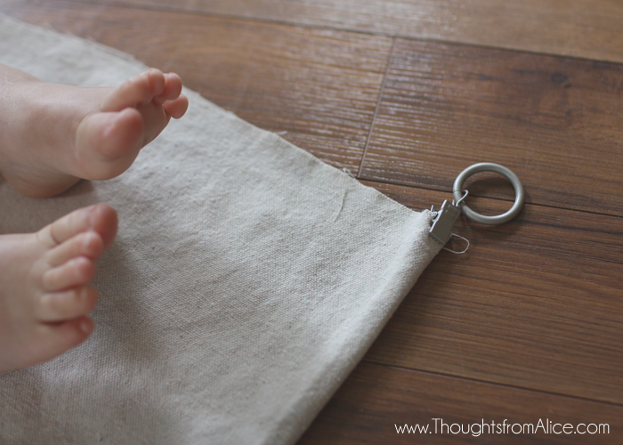 drop cloth curtains with raw hem and drapery rings