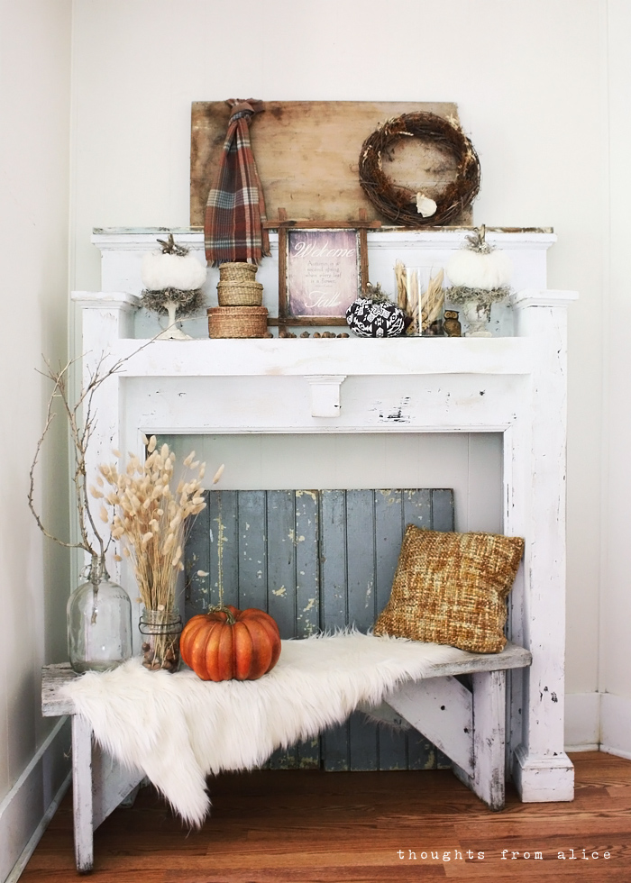 Rustic Fall Mantel Vignette A Free Printable Alice Wingerden