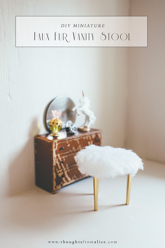 Diy vanity stool Vanity Mirror Light Diy Miniature Faux Fur Vanity Stool Alice Wingerden Diy Miniature Faux Fur Vanity Stool Alice Wingerden