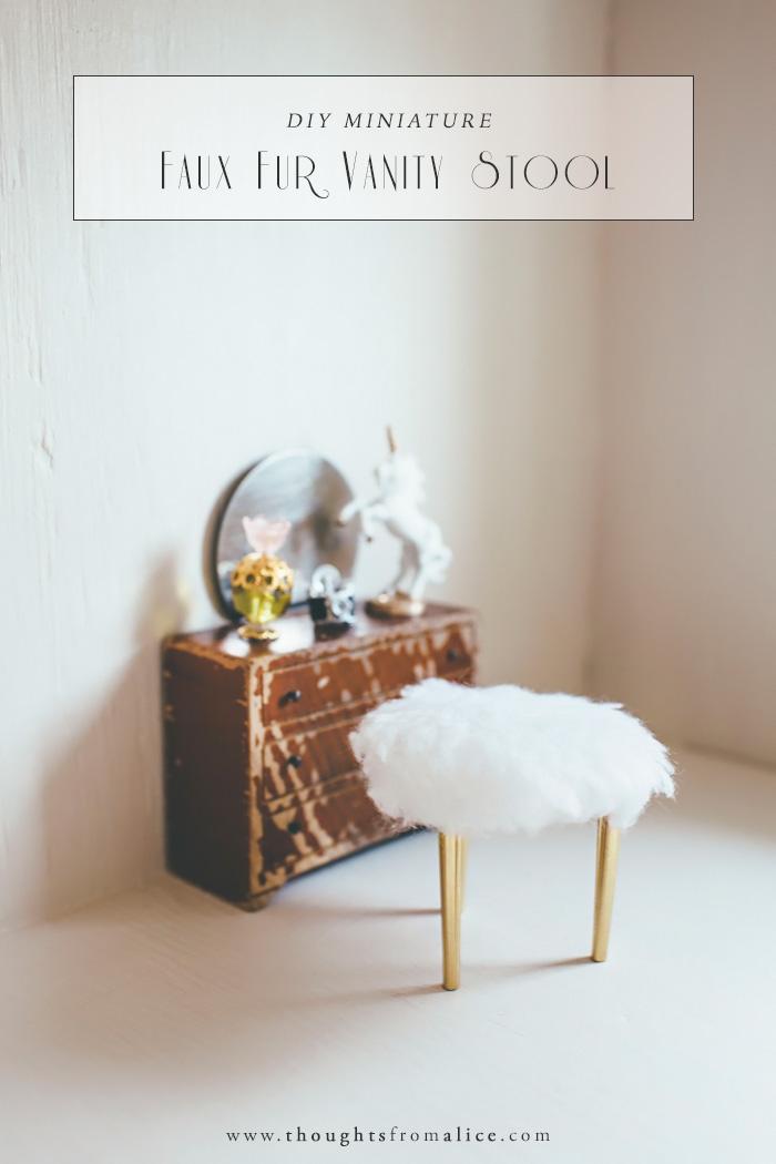 Diy Miniature Faux Fur Vanity Stool Alice Wingerden