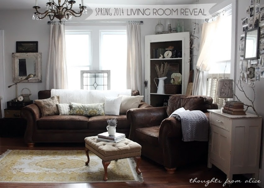 rustic vintage farmhouse living room with brown sofa