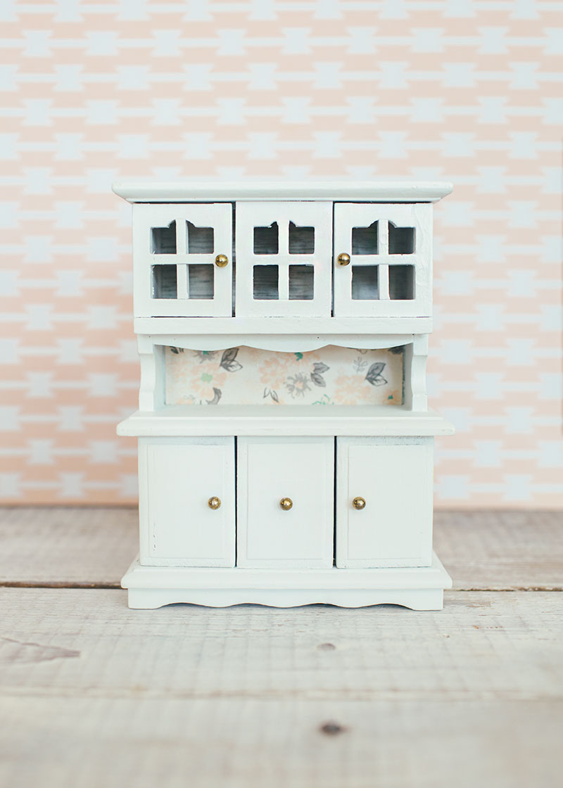 White Dollhouse Hutch Lined with Floral Scrapbook Paper