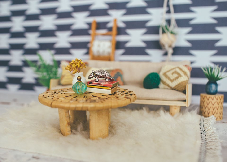 coaster turned dollhouse coffee table with tiny decorative items