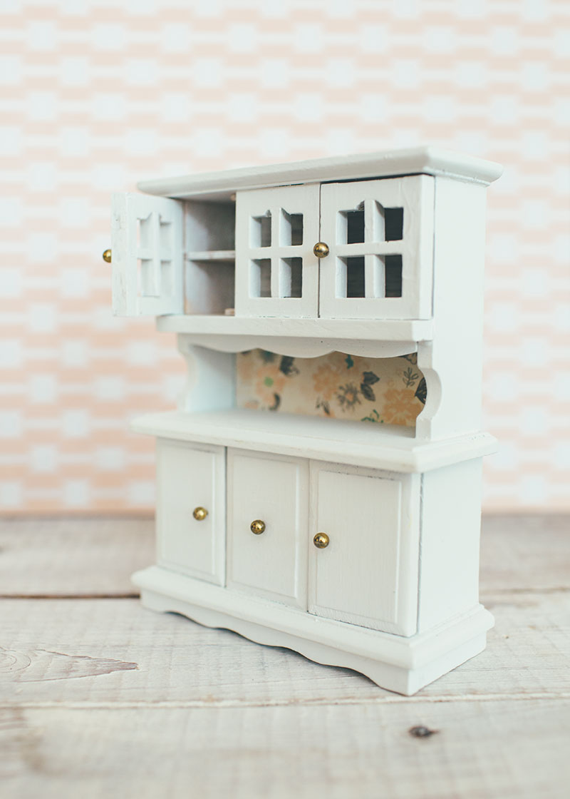 Side View of Dollhouse Hutch Painted White