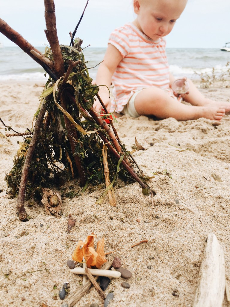 Miniature Nature Tepee and Campfire on the Beach