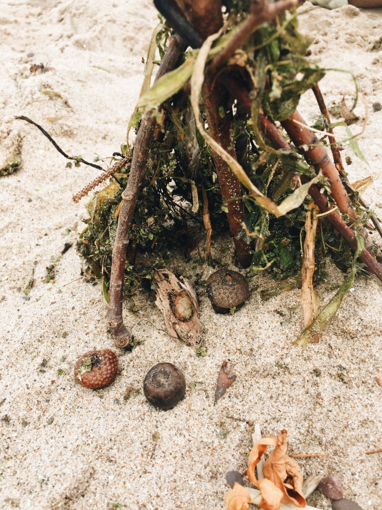 Fairy House in the Sand with Natural Materials