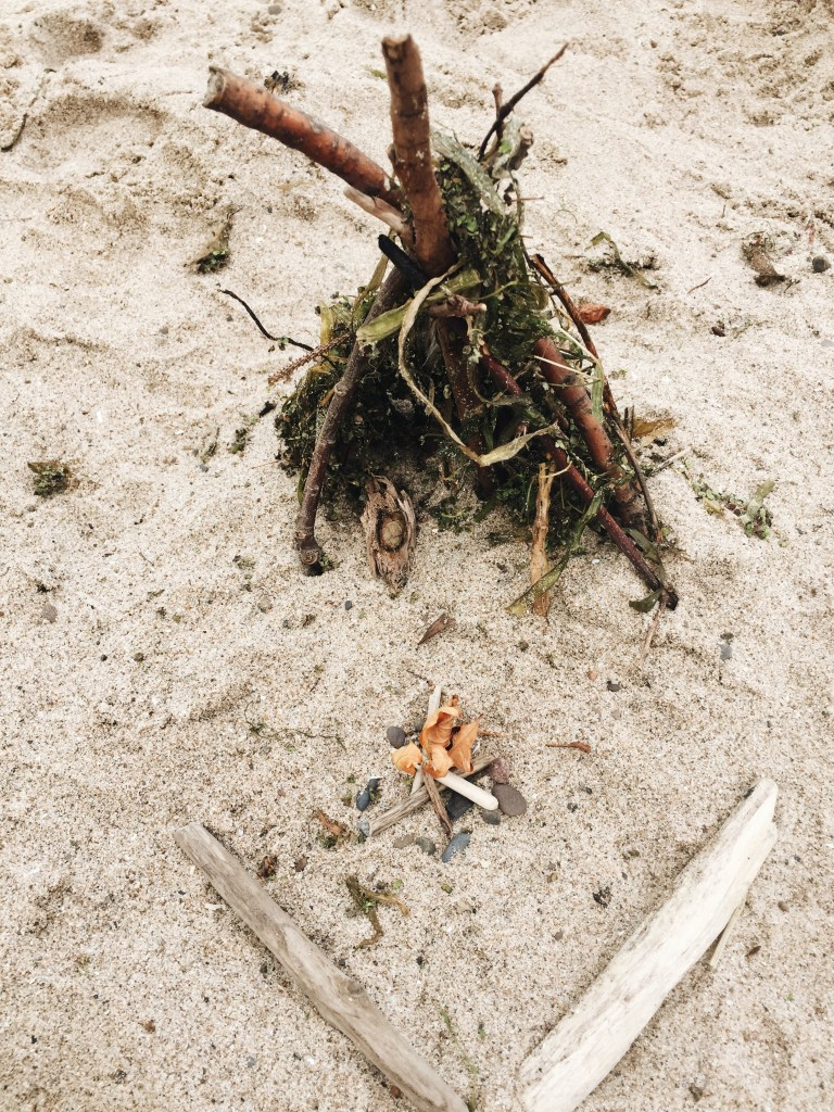 Miniature Tepee and Campfire on the Beach