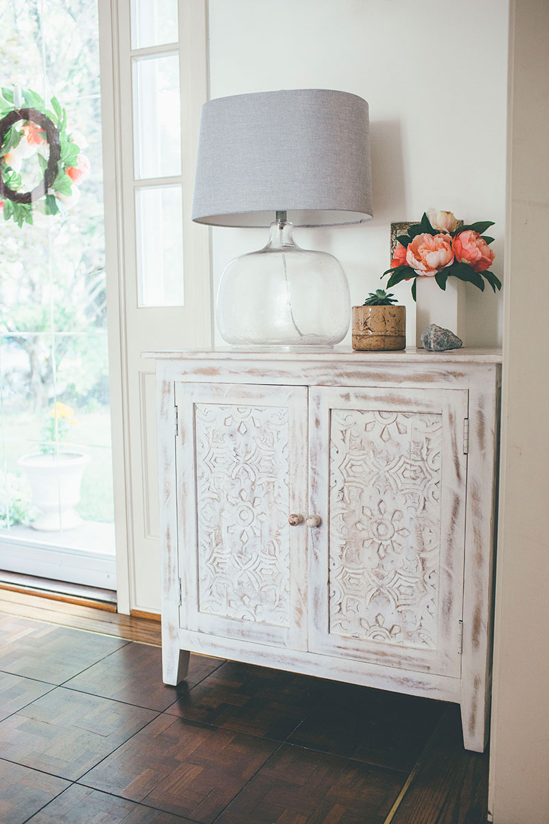 Whitewashed-Wooden-Carved-Accent-Cabinet-Entryway