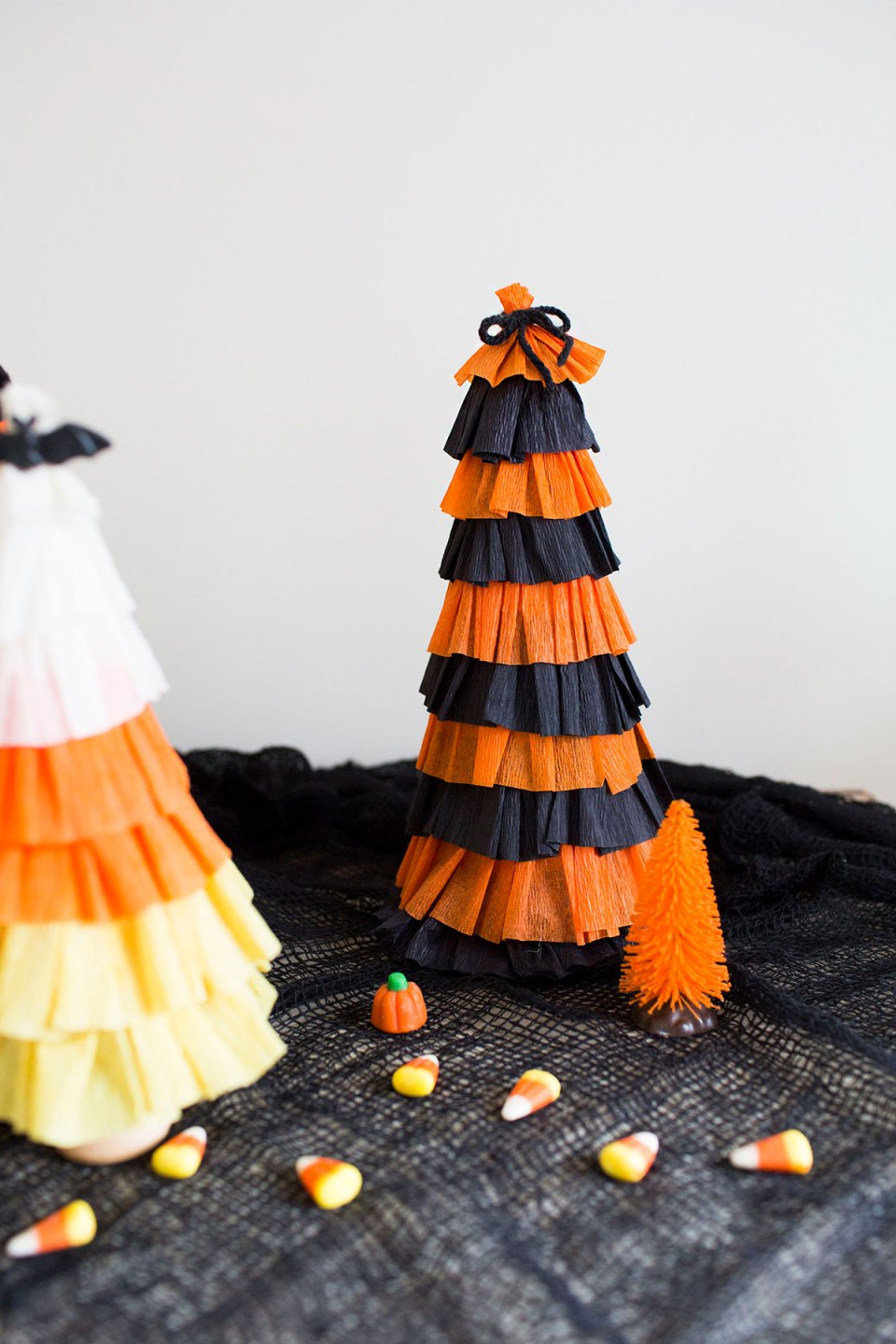 Halloween Trees Made from Streamers