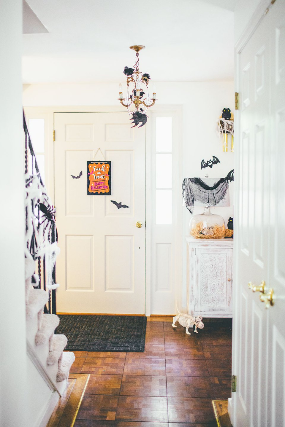 White and Black Halloween Entryway