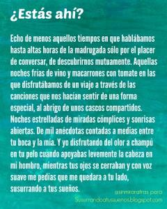 Escena escrita para el radioblog Susurrando a tus sueños, de Ignacio de la Vega.