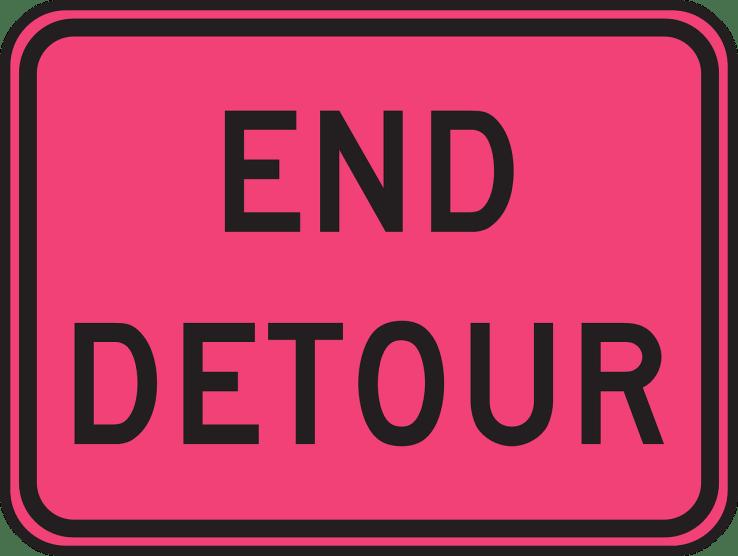 END DETOUR road sign
