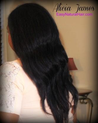Flat ironed natural hair back Alicia James
