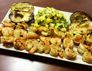 Grilled Green Shrimp with Pineapple Salsa and Grilled Avacado