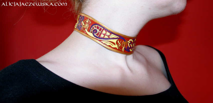 book of kells gold leather necklace birds 5