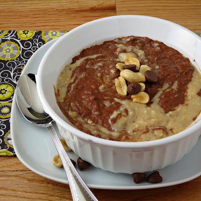 healthy chocolate peanut butter breakfast oatmeal