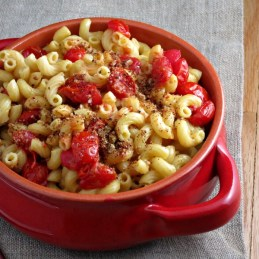 Lighter Stove-top Mac and Cheese topped with Roasted Tomatoes and Garlic Breadcrumbs