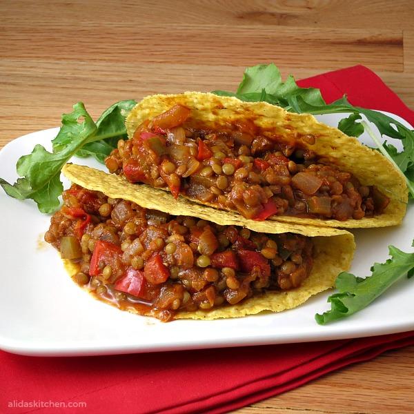 Lentil Tacos | alidaskitchen.com #WeekdaySupper