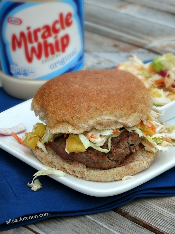 Cabbage and Pineapple Slaw Burgers | juicy burger made with MIRACLE WHIP and topped with a cabbage pineapple slaw! #ProudOfIt