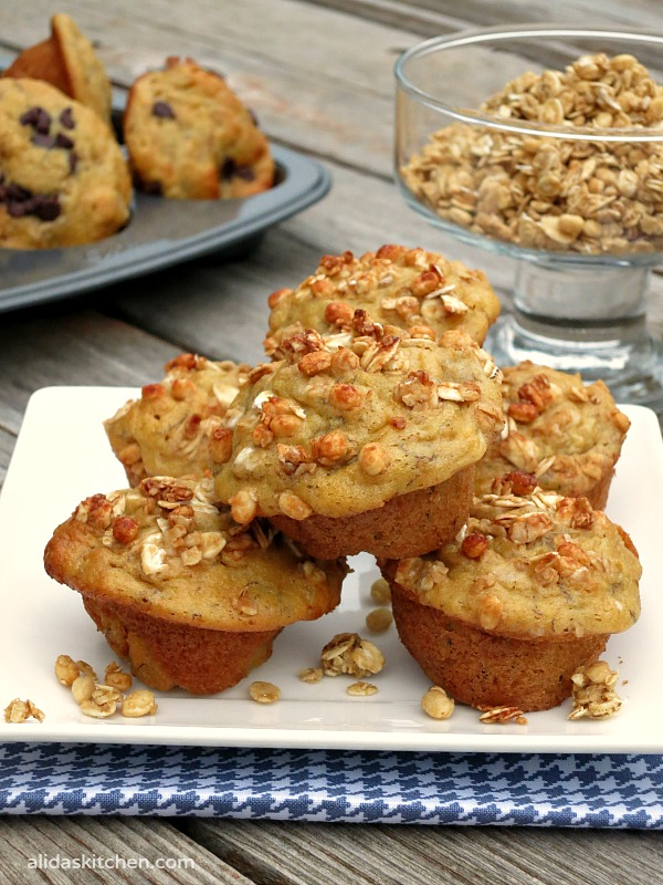 Banana Buttermilk Muffins topped with Nature Valley™ Protein Granola |  alidaskitchen.com