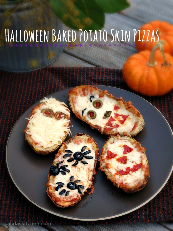 Halloween Baked Potato Skin Pizzas | alidaskitchen.com #recipes #SundaySupper