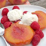 Vanilla Bean Roasted Peaches #SundaySupper