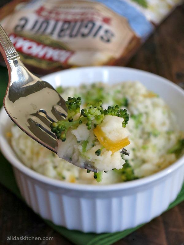 Broccoli Cheddar Mashed Potatoes   alidaskitchen.com