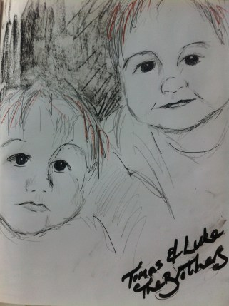 Portrait of twins Tomas and Luke - aged 5