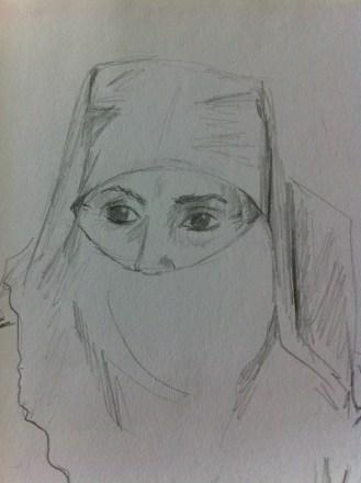 Woman in Souk Cherifia, Marrakech from my Morocco Sketchbook.