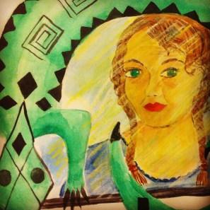 Self portrait in my lizard mirror from Mexico.