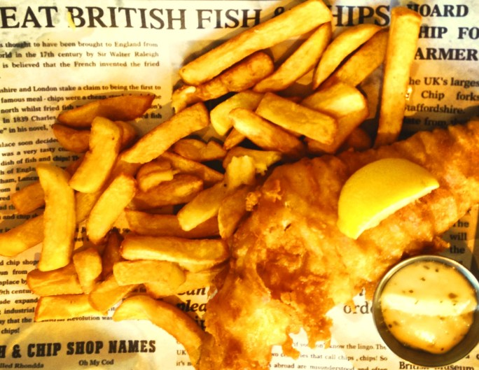 Fish and Chips in newspaper in Scarborough, England.