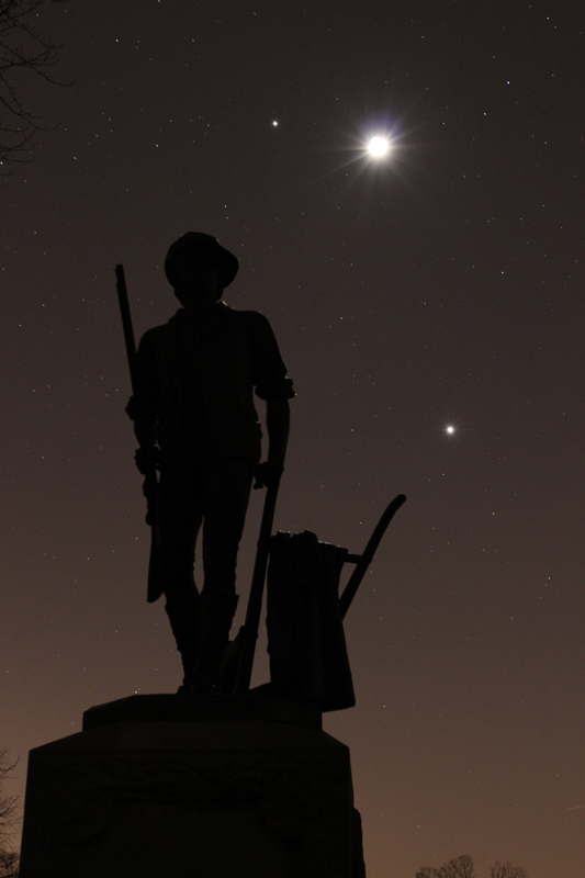 Moon, Venus and the Moon over Concord, MA